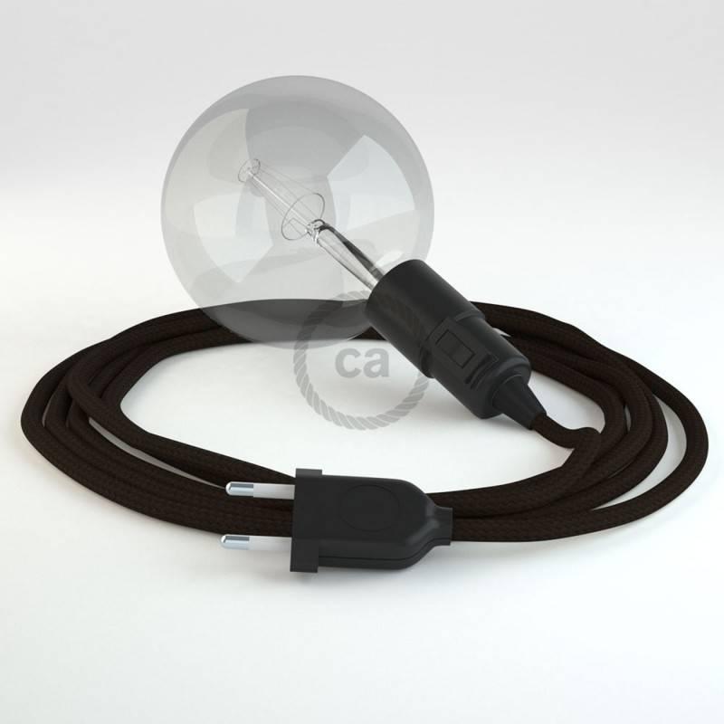 """""""Snake"""" snoerlamp met extra lang strijkijzersnoer bruin viscose RM13"""