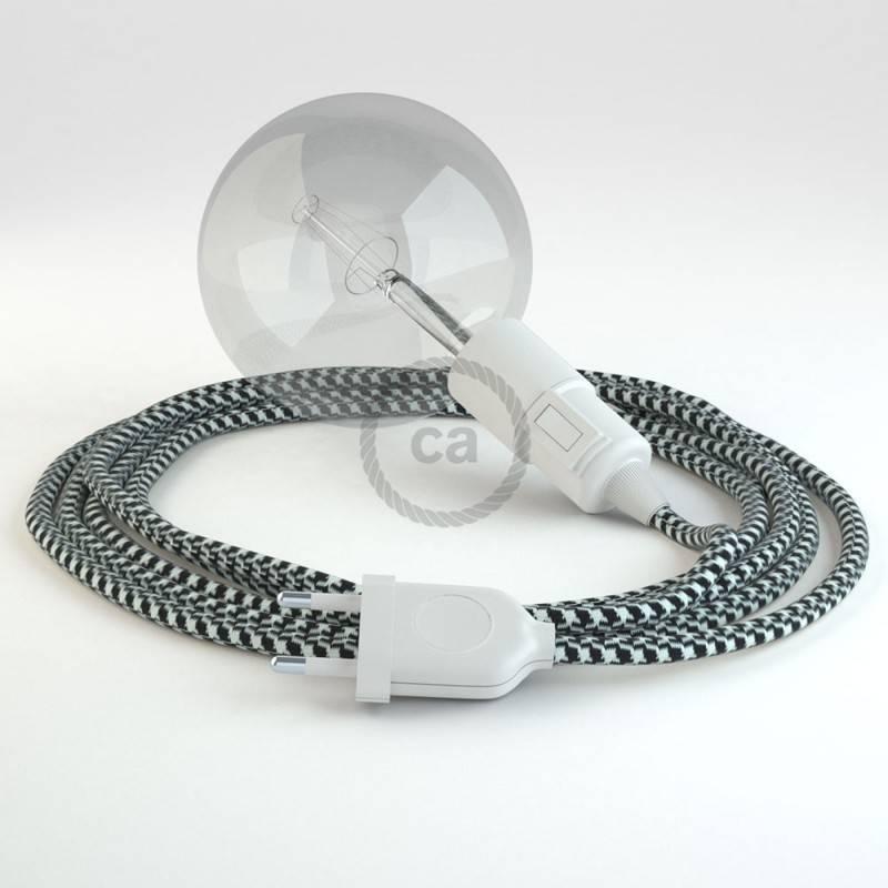 """""""Snake"""" snoerlamp met extra lang strijkijzersnoer zwart/wit viscose RP04"""