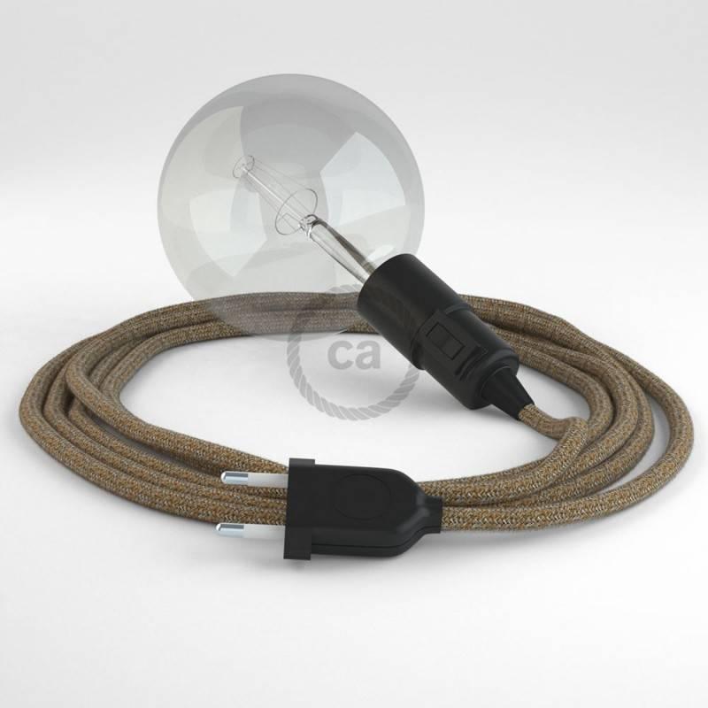"""""""Snake"""" snoerlamp met extra lang strijkijzersnoer roodbruin linnen en katoen RS82"""