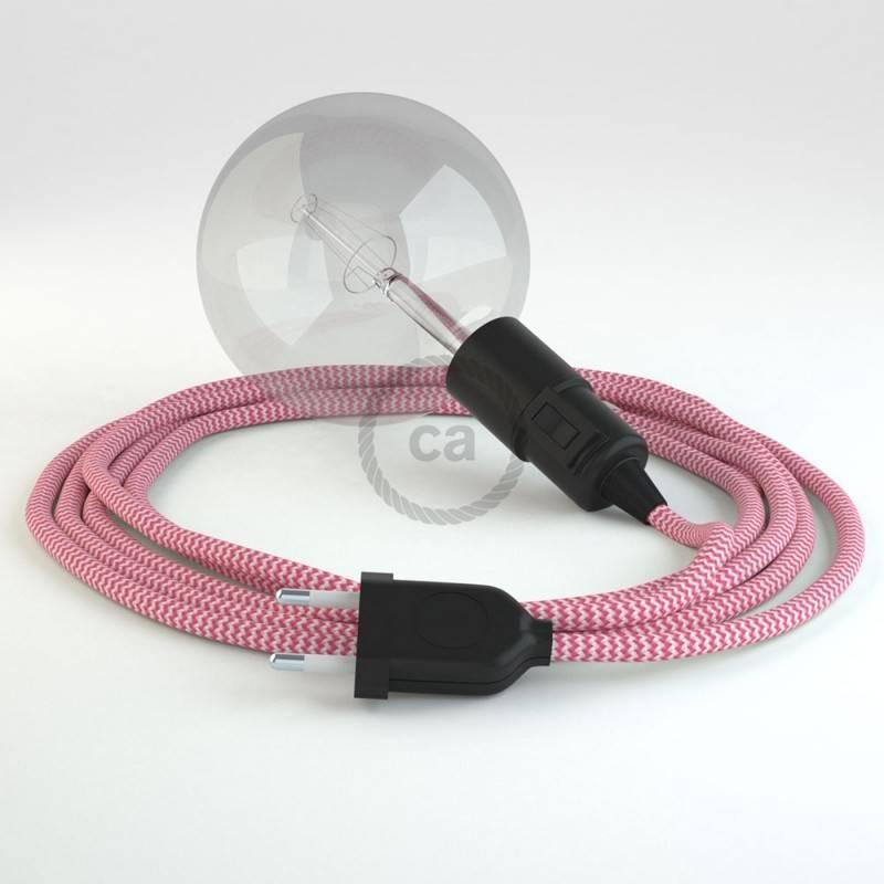 """""""Snake"""" snoerlamp met extra lang strijkijzersnoer fuchsia viscose RZ08"""
