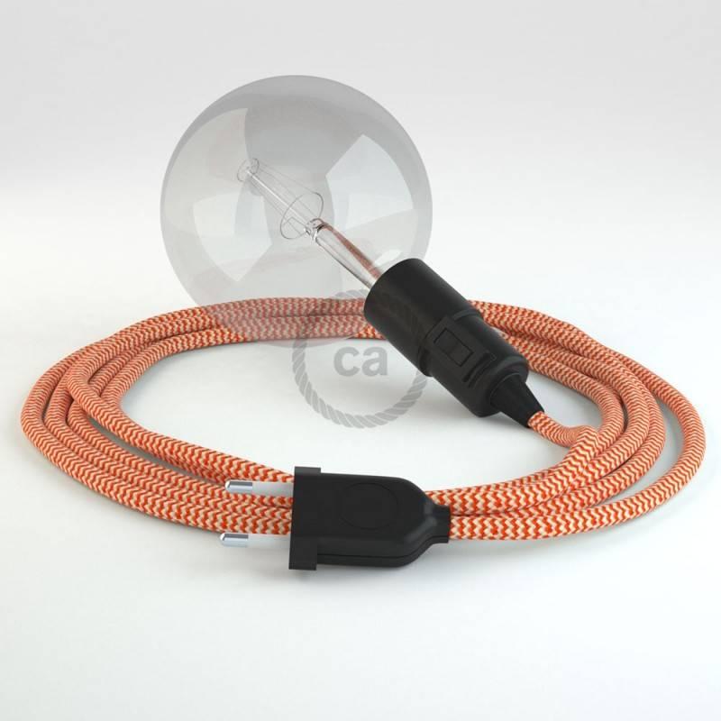 """""""Snake"""" snoerlamp met extra lang strijkijzersnoer oranje viscose RZ15"""