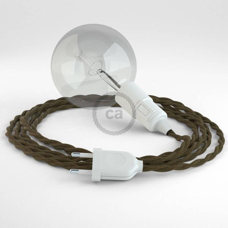 """""""Snake"""" snoerlamp met extra lang strijkijzersnoer gevlochten bruin katoen TC13"""