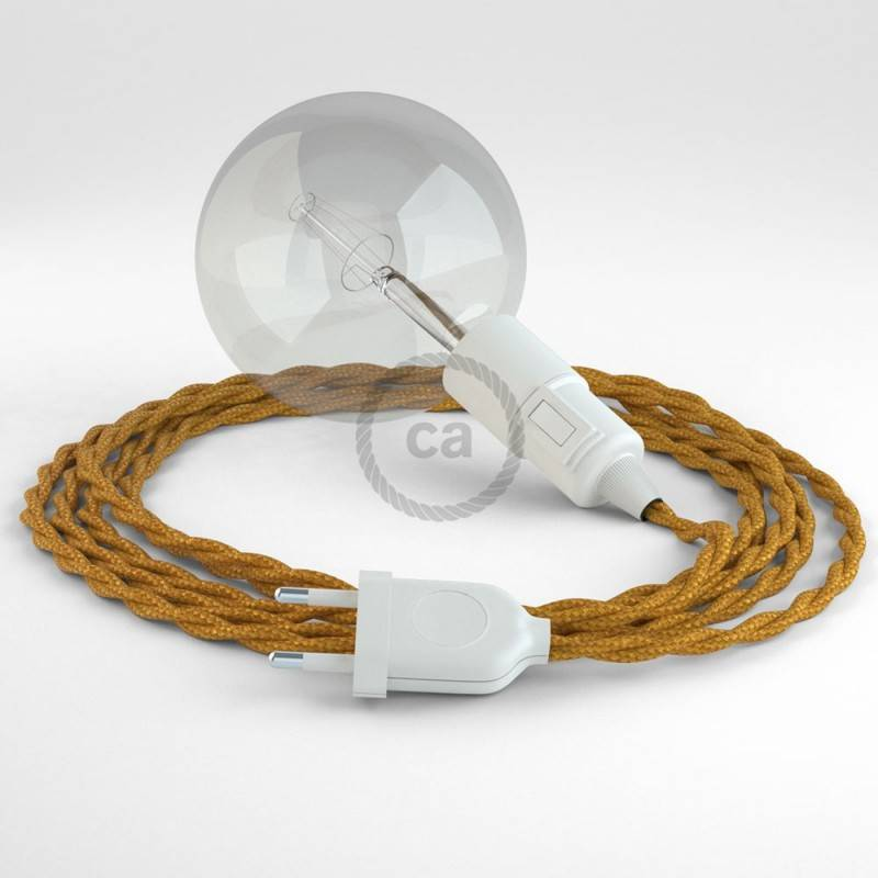 """""""Snake"""" snoerlamp met extra lang strijkijzersnoer gevlochten goud viscose TM05"""