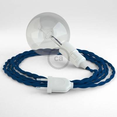 """""""Snake"""" snoerlamp met extra lang strijkijzersnoer gevlochten blauw viscose TM12"""