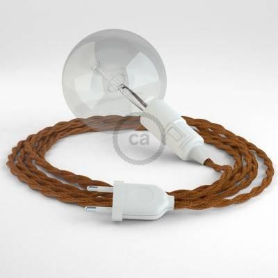 """""""Snake"""" snoerlamp met extra lang strijkijzersnoer gevlochten whiskey viscose TM22"""