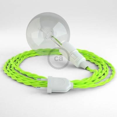 """""""Snake"""" snoerlamp met extra lang strijkijzersnoer gevlochten fluo geel viscose TF10"""
