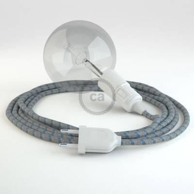 """""""Snake"""" snoerlamp met extra lang strijkijzersnoer Steward blauw linnen en katoen RD55"""