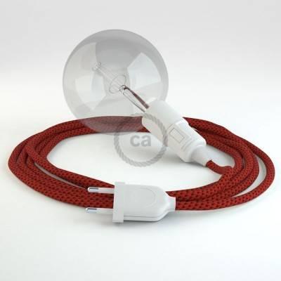 """""""Snake"""" snoerlamp met extra lang strijkijzersnoer duivelsrood viscose RT94"""