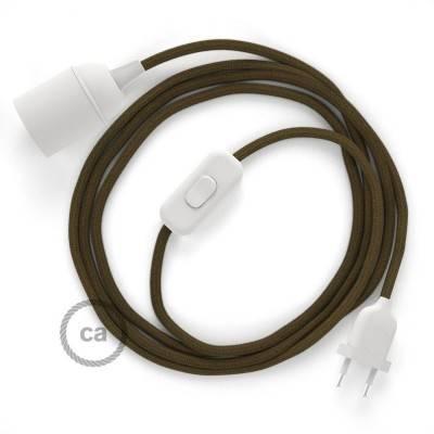 SnakeBis bedradingsset met fitting en strijkijzersnoer - bruin katoen RC13