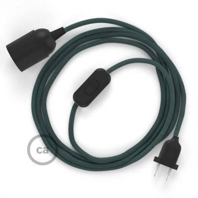 SnakeBis bedradingsset met fitting en strijkijzersnoer - steengrijs katoen RC30