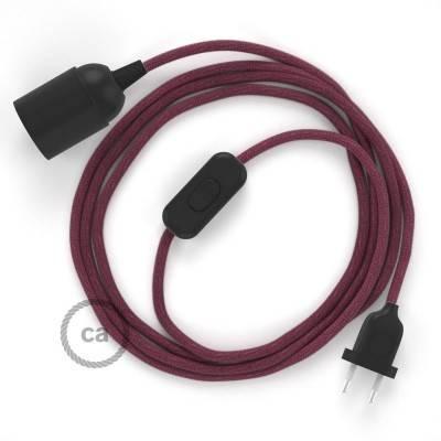 SnakeBis bedradingsset met fitting en strijkijzersnoer - burgundy katoen RC32