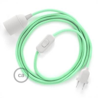 SnakeBis bedradingsset met fitting en strijkijzersnoer - pastelgroen katoen RC34