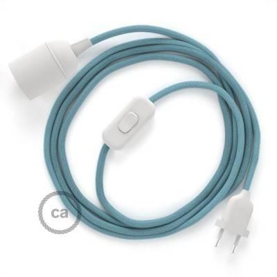 SnakeBis bedradingsset met fitting en strijkijzersnoer - zeeblauw katoen RC53