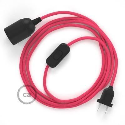 SnakeBis bedradingsset met fitting en strijkijzersnoer - fuchsia viscose RM08