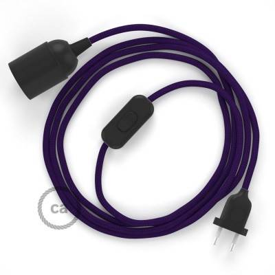SnakeBis bedradingsset met fitting en strijkijzersnoer - paars viscose RM14