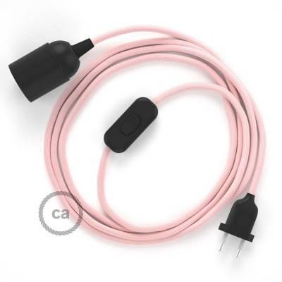 SnakeBis bedradingsset met fitting en strijkijzersnoer - baby roze viscose RM16