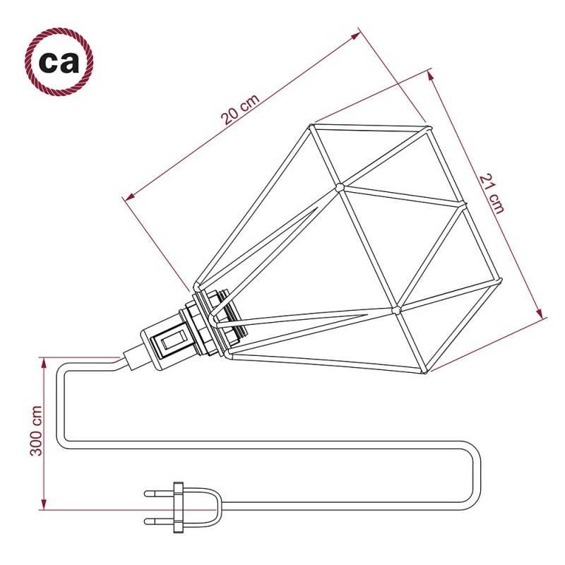 Table Snake, met verkoperde metalen Diamond E27 draadframe lampenkap met platte EU stekker