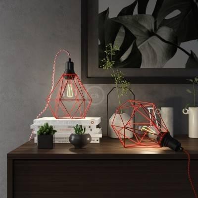 Table Snake, met rood metalen Diamond E27 draadframe lampenkap met platte EU stekker
